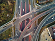 Beautiful panoramic aerial drone view to the Aleje Jerozolimskie street viaduct located in Warsaw, Poland