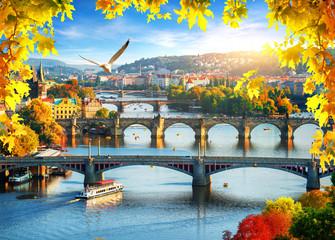 Panel Szklany Miasta Prague in autumn