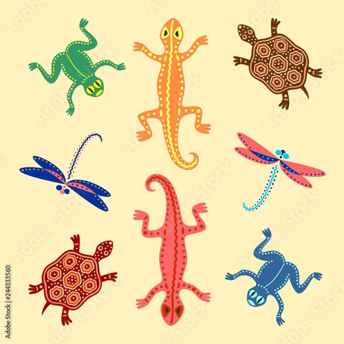 Fotomural Frogs, lizards, turtles and dragonflies. Based on African motifs