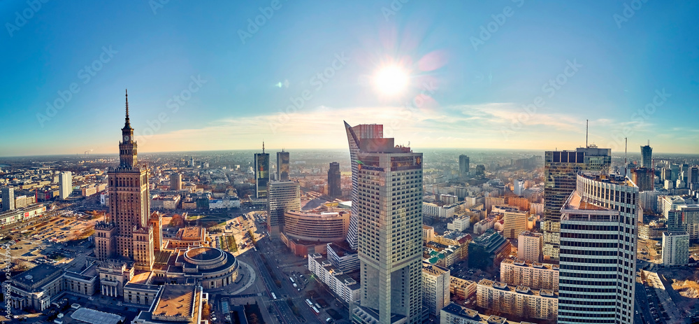 Fototapety, obrazy: WARSAW, POLAND - NOVEMBER 20, 2018: Beautiful panoramic aerial drone view to the center of Warsaw City and Palace of Culture and Science - a notable high-rise building in Warsaw, Poland