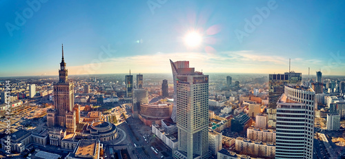 WARSAW, POLAND - NOVEMBER 20, 2018: Beautiful panoramic aerial drone view to the center of Warsaw City and Palace of Culture and Science - a notable high-rise building in Warsaw, Poland