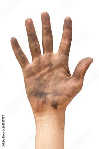 Fotografía  dirty hand on white background