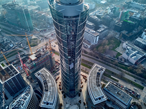 Canvastavla WARSAW, POLAND - NOVEMBER 27, 2018: Beautiful panoramic aerial drone view to the