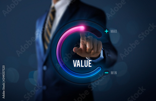 Cuadros en Lienzo Growth value, increase value, value added or business growth concept