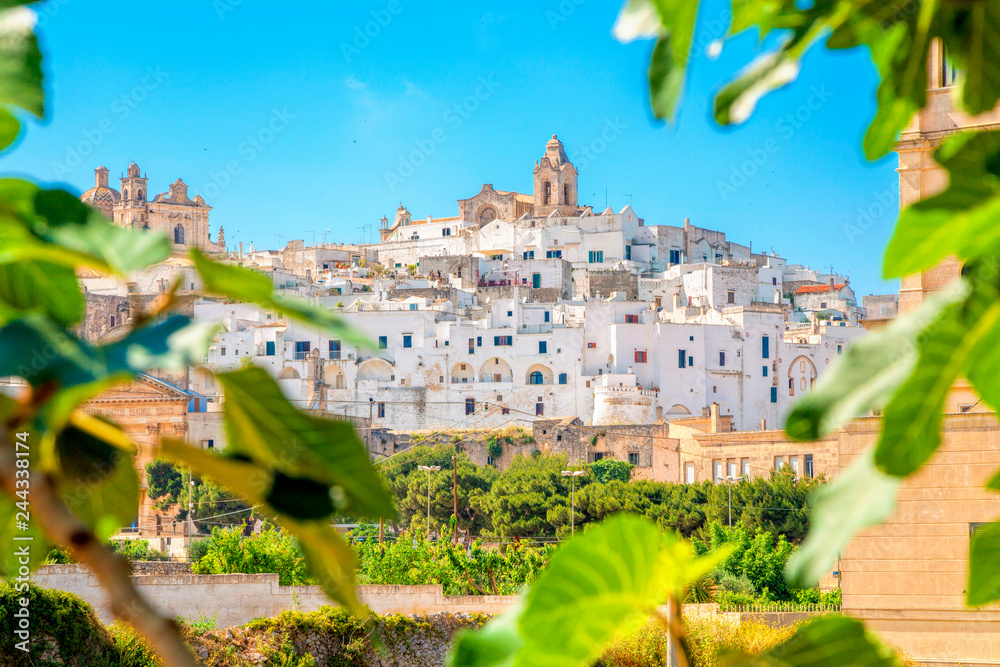 Fototapety, obrazy: Panoramic view of Ostuni (white town), province of Brindisi, Apulia, southern Italy.