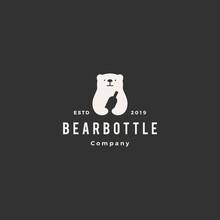 Bear Bottle Logo Hipster Vinta...