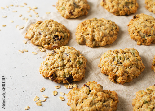Biscuit Homemade oat cookies on white background