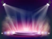Spotlights Illuminates A Round Stage. Disco Night Club Background.