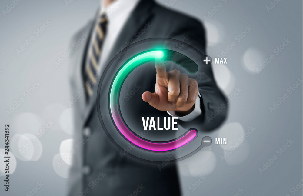 Fototapeta Growth value, increase value, value added or business growth concept. Businessman is pulling up circle progress bar with the word VALUE on bright tone background.