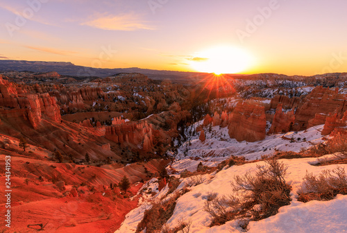 Scenic Winter Sunrise at Bryce Canyon Utah