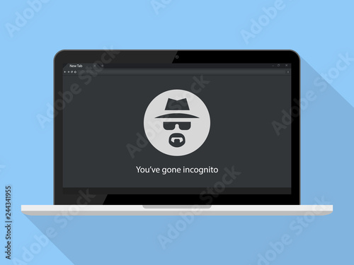 Fotomural  Incognito Icon Vector Illustration. Browse in private Laptop