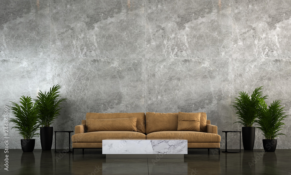 Fototapeta Modern living room interior design and marble wall texture background