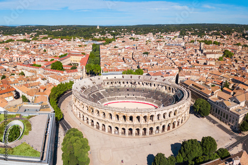 Fotografering Nimes Arena aerial view, France