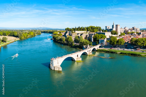 Door stickers European Famous Place Avignon city aerial view, France