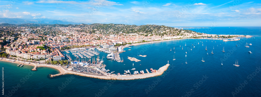 Fototapety, obrazy: Cannes aerial panoramic view, France