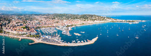 Poster Navire Cannes aerial panoramic view, France