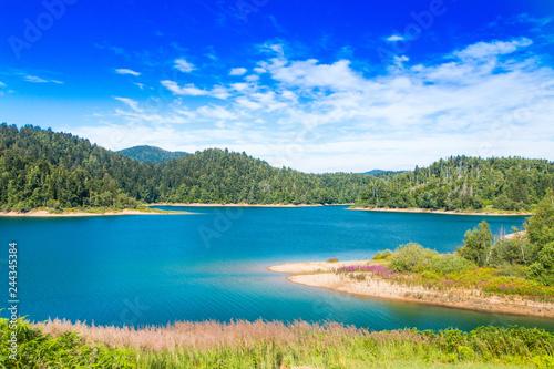 Obraz Nature of Craotia, beautiful blue lake in woods of Gorski kotar - fototapety do salonu