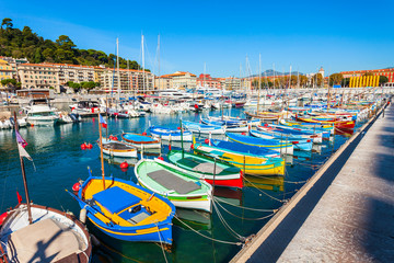 Nice port with boats, France
