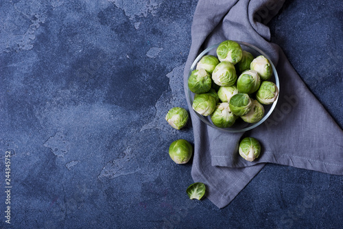 Door stickers Brussels Brussel sprouts for cooking on background for text, healthy vegan cooking ingredients, fresh vegetables, clean eating concept