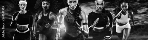 Fényképezés  Group of five strong athletic women, sprinters, running on dark background wearing in the sportswear, fitness and sport motivation