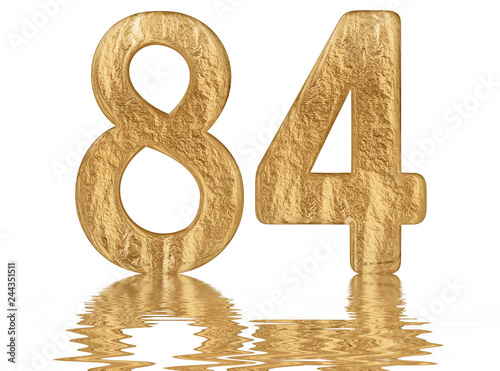 Fotografia  Numeral 84, eighty four, reflected on the water surface, isolated on  white, 3d
