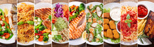 Collage Of Plates Of Food, Top View