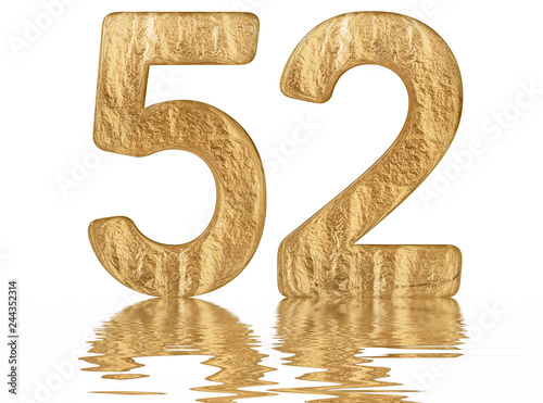 Fotografía  Numeral 52, fifty two, reflected on the water surface, isolated on  white, 3d re