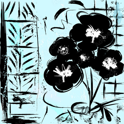 abstract background, illustration with flowers in black, with strokes and splashes,