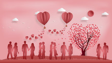Paper Art , Cut And Digital Craft Style Of The Lover With Heart Hot Air Balloon And Sunny On Pink Sky Background As Romantic , Married And Honeymoon Concept. Vector Illustration