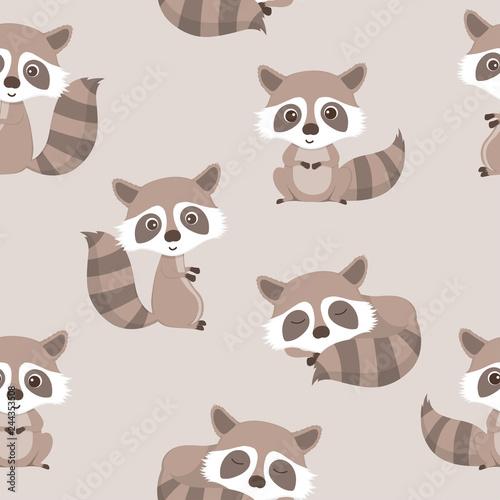 Wall Murals Cats seamless pattern of cute raccoon.