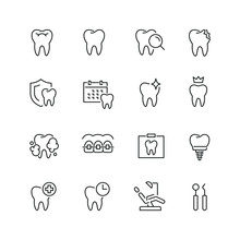 Dental Related Icons: Thin Vector Icon Set, Black And White Kit