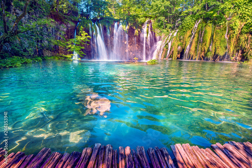 Fototapeten Wasserfalle Magical beautiful, breathtaking scenic scenery with waterfalls in the national reserve in Plitvice, Croatia. Charming places.