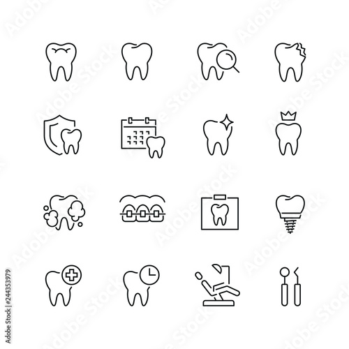 Fotografie, Obraz Dental related icons: thin vector icon set, black and white kit