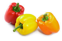 Yellow Orange And Red Sweet Bell Pepper Isolated On White Background