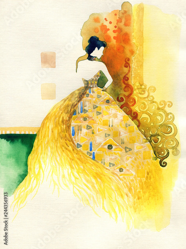 Poster Aquarel Gezicht golden fantasy dress. beautiful woman. fashion illustration. watercolor painting