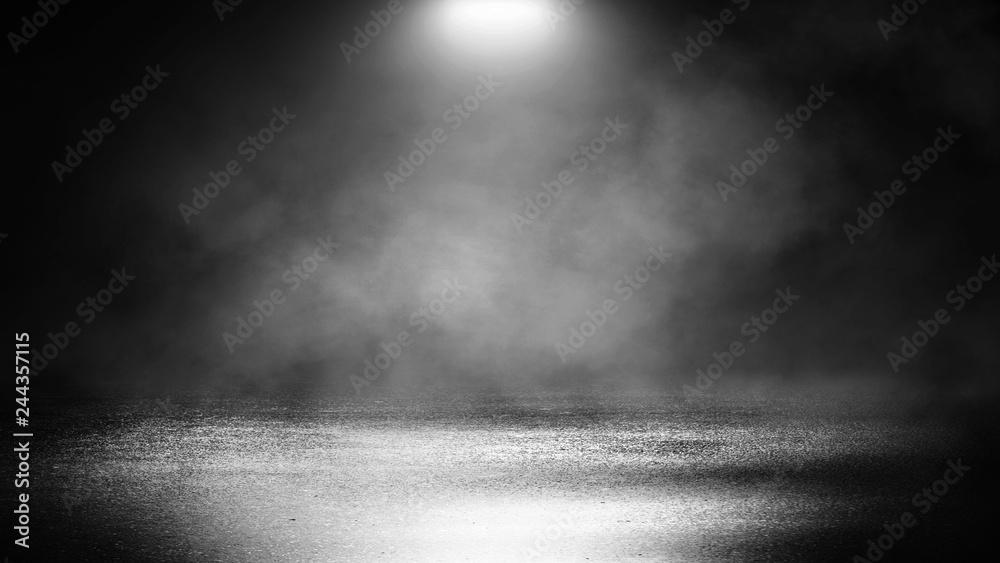 Fototapety, obrazy: Black background of empty street, room, spotlight illuminates asphalt, smoke
