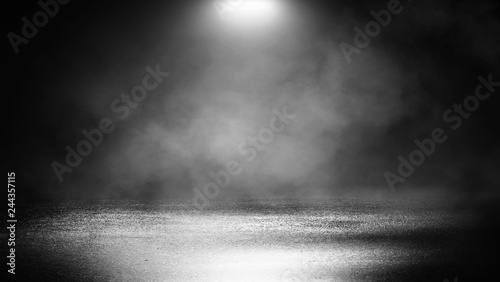 Fotobehang Licht, schaduw Black background of empty street, room, spotlight illuminates asphalt, smoke