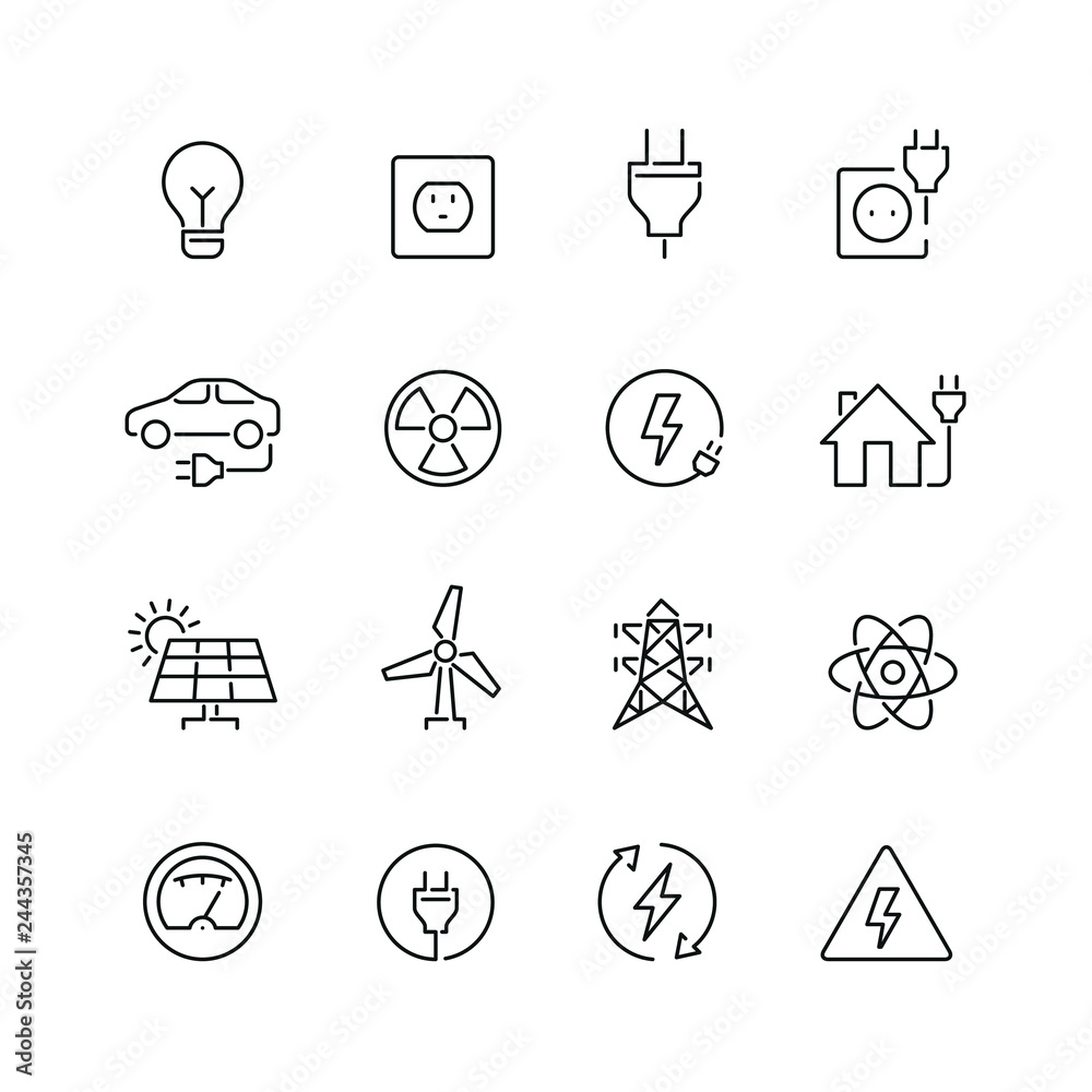Fototapety, obrazy: Energy and electricity related icons: thin vector icon set, black and white kit