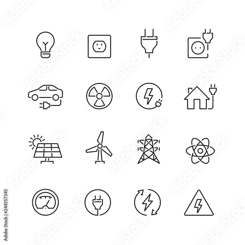 Fotografie, Obraz Energy and electricity related icons: thin vector icon set, black and white kit