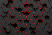 Black And Red Hexagon Pattern ...
