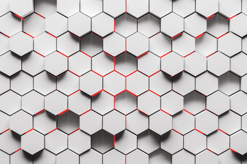 Panel Szklany 3D White hexagon pattern background