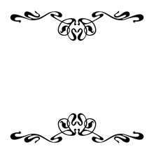 Empty Decorative Vintage  Frame. Art Nouveau Style Ornamental Border For Your Design