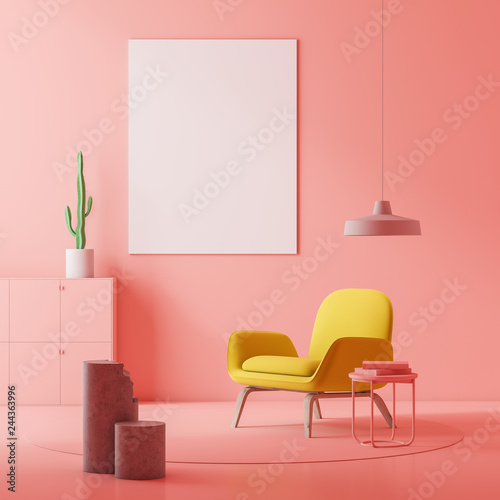 Fotografie, Obraz  Pink living room, armchair and poster