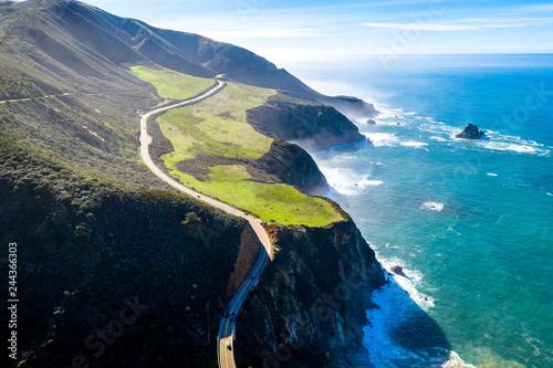 Fotografie, Obraz  Big Sur Highway 1 Ca-1 California Küstenstrasse am Pazifik Drohnenaufnahme
