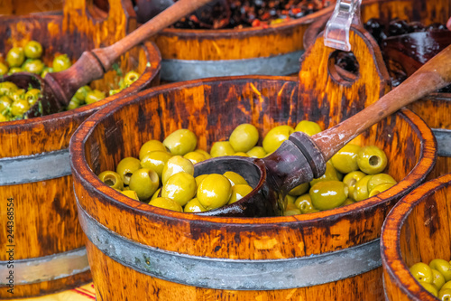 Assortment of marinated olives on display at Broadway market in Hackney, East Lo Canvas Print