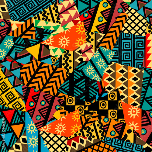 Colored african patchwork background with african motifs - fototapety na wymiar