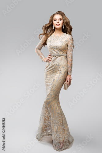 Canvas Print Fashion Model Evening Glittering Silver Dress, Elegant Glamour Woman in Sparklin