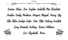 30 Most Popular Female Woman Names.   Calligraphy Saying For Print. Vector Quote