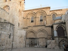 View On Main Entrance In At The Church Of The Holy Sepulchre In Old City Of Jerusalem