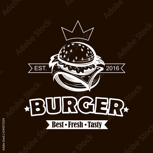 background with fast food emblem of burger